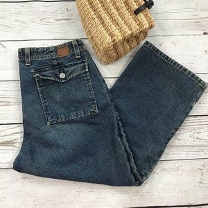 BKE Cropped Jeans Button Flap Pockets Factory Fade